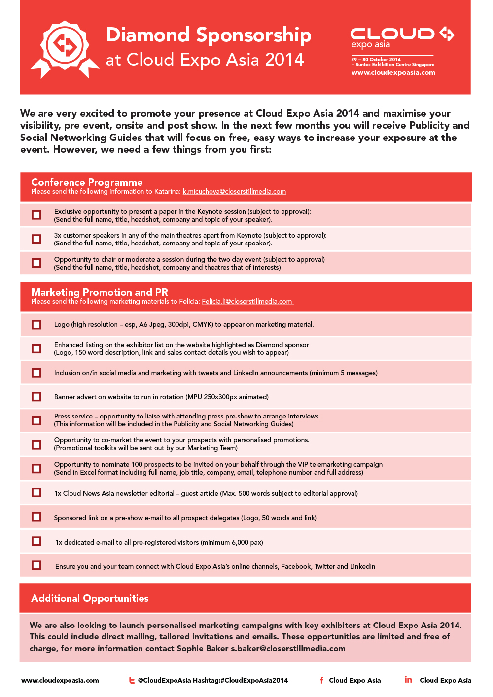 Sponsorship checklist design